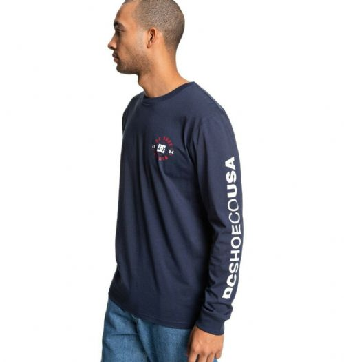 DC SHOES MENS T SHIRT.TAG TEAM NAVY LONG SLEEVED SLEEVE PRINT CREW COTTON TOP 9W